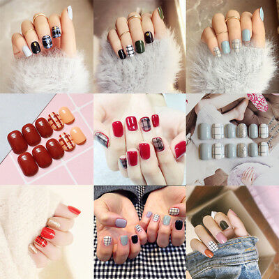 24pcs False Nails Plaids Checks Pattern Jump Color Finger Artificial Nail Tips