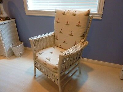 Mid Century Heywood Wakefield White Wicker Chair~Nautical Print On Cushions~Euc