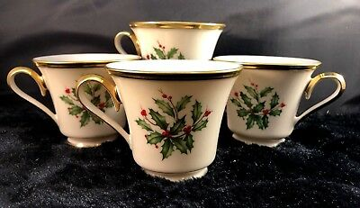 """Lenox Holiday (Dimension) Footed Coffee Tea Cups 3"""" Holly & Berries Set Four (4)"""