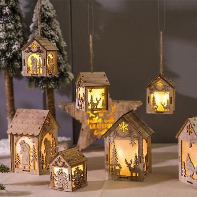 Christmas Decorations Glowing Wooden Cabin Cartoon Lanterns House DIY Cottage