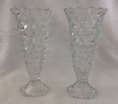 Pair Of Vintage FOSTORIA AMERICAN Clear Footed Vases, Six Inches Tall