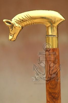 Walking Stick Cane Brass head Designer Wood Victorian Head Handle Heavy Style
