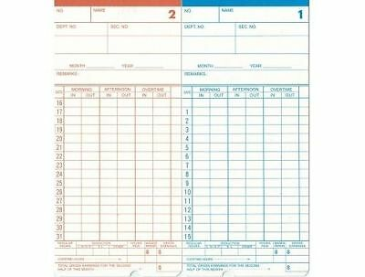 200 X Monthly TIME CARDS TIME CLOCK RECORDER BUNDY CLOCK EMPLOYEE TIME CARDS
