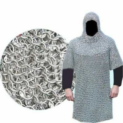 XXXL ALUMINIUM ROUND RIVETED CHAIN MAIL SHIRT 9mm 16G MEDIEVAL CHAINMAIL + COIF
