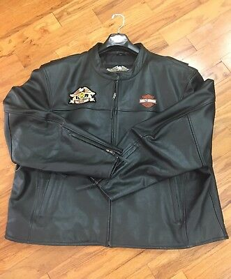HARLEY DAVIDSON Leather Jacket 5XL With added Embroidery On Back