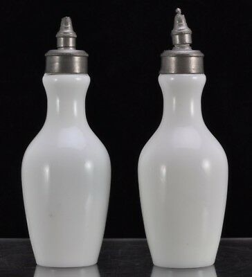 Pair of Miniature Requa's Patent Valve Nozzle Milk Glass Dropper Bottles 1876
