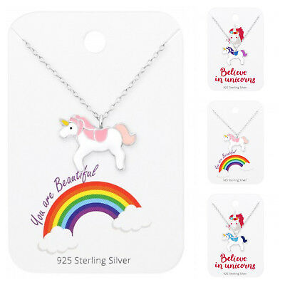 Childrens Girls 925 Sterling Silver Unicorn Necklace Pendant Pink Purple Blue