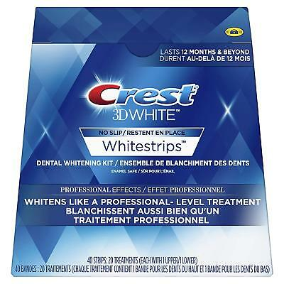 Crest3D Whitestrips NO SLIP PROFESSIONA EFFECTS (20 pouches 40 strips)NEW SEALED