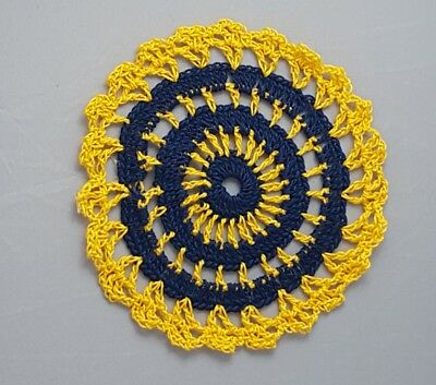 Navy Blue in Golden Rod Bumblebee doily Approximately 5 Inches.