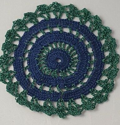 Navy Blue in Forest Green Bumblebee doily Approximately 5 Inches.