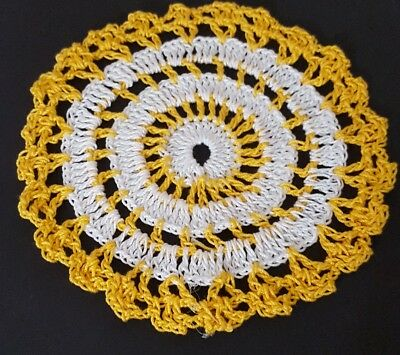 White in Golden Rod Bumblebee doily Approximately 5 Inches.
