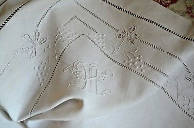 An antique French hand embroidered HT monogrammed pure linen fil pillow case