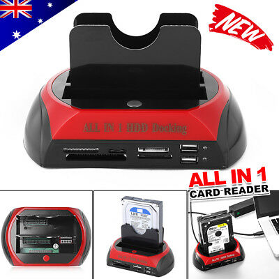 "Dual 2.5/3.5"" IDE SATA HDD Hard Drive Disk Dock Docking Station All In 1 Clone"