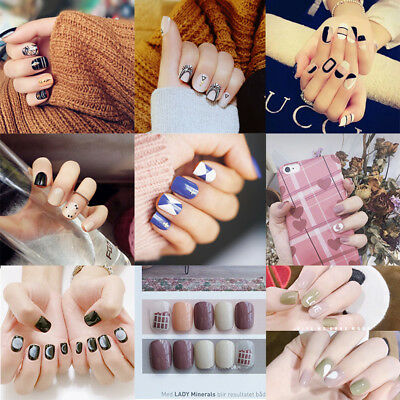 24pcs False Nails Pre-Designed Short Square Geometric Artificial Nail Art Tips
