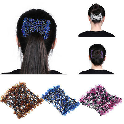 Women's Girls Magic Hair Combs Beads Elastic Clips Stretchy Double Hair Comb