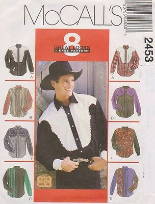 McCall's #2453 Sewing Pattern for 8 Styles Men's Western Shirts ; Sz (38-40) Med
