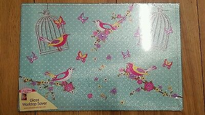 glass worktop saver birds 30x 20cm Approx food saver sink panel shabby chic