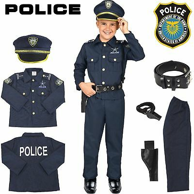 Police Officer Costume Kids Halloween Cosplay Boys Outfit Realistic Set Uniform