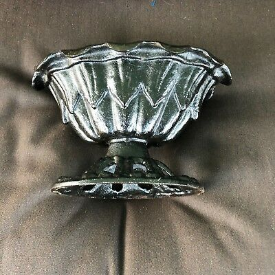 Antique Cast Iron Garden Planter pot Urn ornate stove finial scallops edge 8""