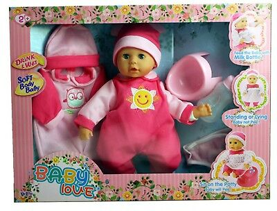 Drink & Wet Soft Bodied Baby Doll With Accessories Set - Children's Toy - New