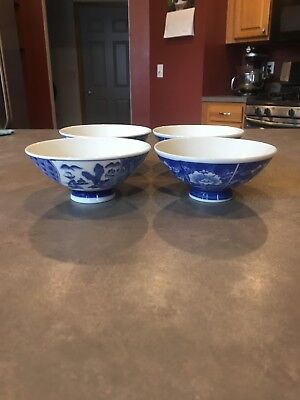 Set of 4 Chinese Blue and White Footed Porcelain Rice or Soup Bowls
