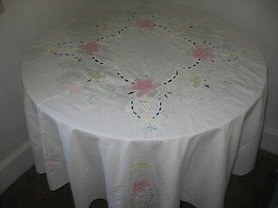 Vintage Circular Tablecloth Hand Madeira  Work Embroidery  5Ft 5Ins