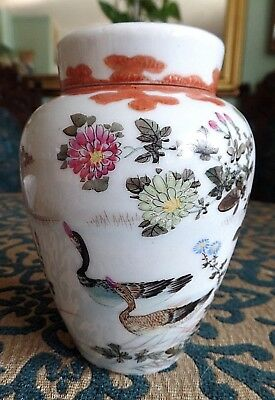 Antique Japanese Kutani Hand Painted Ducks Lidded Jar Circa 1920  A