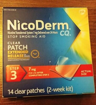 Nicoderm CQ Step 3 Clear Nicotine Patches 7mg 14 count Stop Smoking Aid Exp 7/18