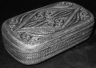 Exquisite Quality Antique Islamic Solid Silver Box; Middle East c1900