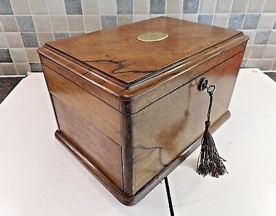 Antique Walnut 2 Compartment Box + 2 Secret Drawers With Peg Release- Lock & Key