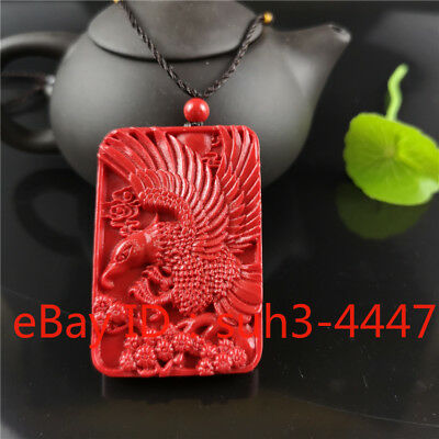 Eagle Pendant Chinese Natural Red Organic Cinnabar Necklace Lucky Amulet Hot