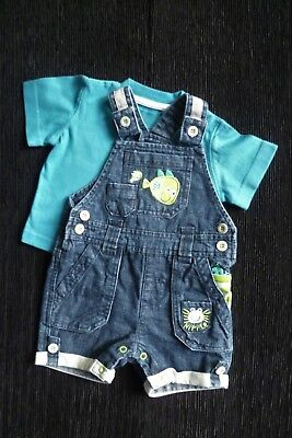 Baby clothes BOY 0-3m outfit cute fishes denim dungarees/blue t-shirt SEE SHOP!