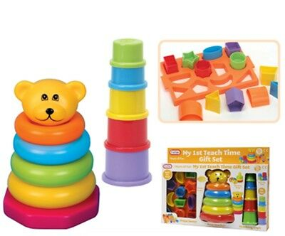 Funtime My First Teach Time Gift Set-3 Piece Set -Shape and Stacking-12 months +