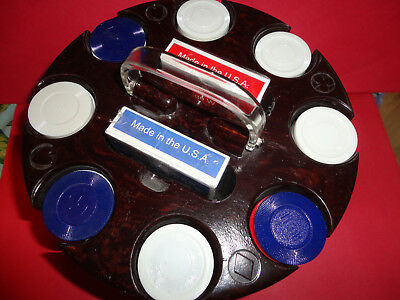 Poker Chip Rack Plastic Lucite Handle ROUND VINTAGE RED WHITE BLUE CHIPS CARDS