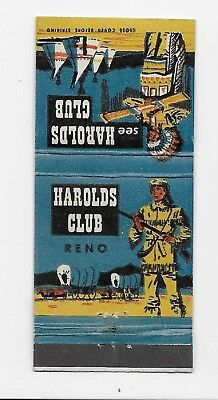 Vintage Matchbook Cover Advertising Harolds Club I Was There in Reno, Nevada