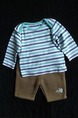Baby clothes BOY 0-3m stripe blues,white/brown/blue whale soft trousers SEE SHOP