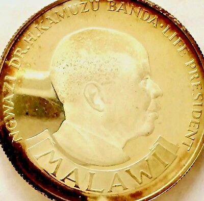 SILVER~PROOF MALAWI~1974~10 KWACHA~10th ANNIVERSARY OF FREEDOM~ONLY 4,937 MINTED