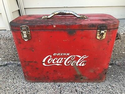 Rare 1940's Coca Cola Airline Bottle Cooler Chest Soda Advertising Sign