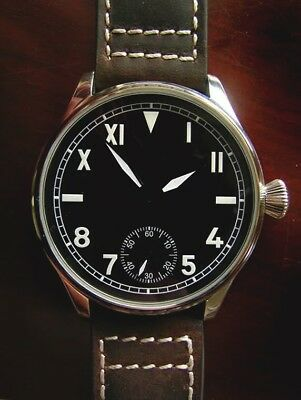 Engraved 44mm Cali Dial PILOT's 6498 Aviators Vintage Style Military Wrist Watch
