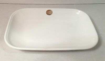 """Continental Airlines Gold Logo White Dish Corning First Class Meals 6""""x4"""""""