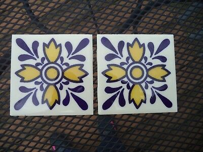 """Orion Monterrey Mexico Hand Painted Tiles (2) 4 3/16"""" Squares"""