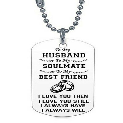 Stainless Steel Letter Engraved Tag Pendant Necklace Couple Family Gift G
