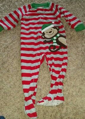 Carter's Super Comfy 12 Month Holiday Christmas Monkey With Santa Hat Zip Up...