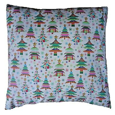 "Christmas Tree Multi-coloured Cotton Cushion Cover Size 16"" x 16"""
