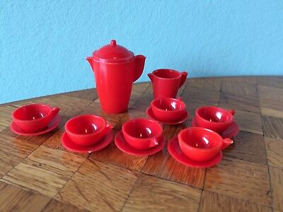Kaffeeservice Vero rot Puppenstube Puppenhaus 1:12 dollhouse dishes