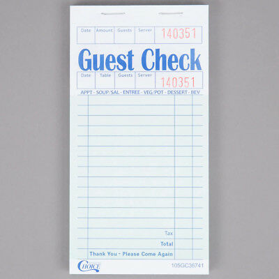 Choice 1 Part Green & White Check w/ Beverage Lines and Top Receipt - 10Pk of 50