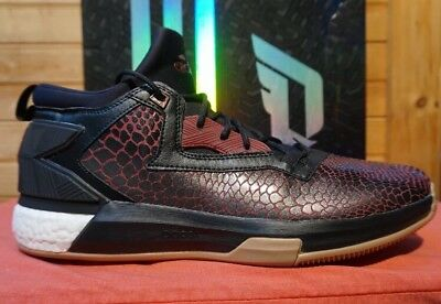 newest 50fbe 06333 Adidas D Lillard 2 Boost SNAKE Black Burgundy Maroon Red Gum 18 Basketball  Shoes