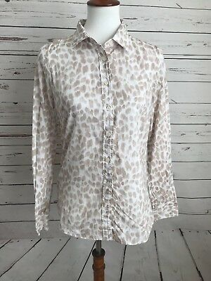 252903cba J.Crew Size Small White Beige Animal Print Button Down Long Sleeve Top Shirt
