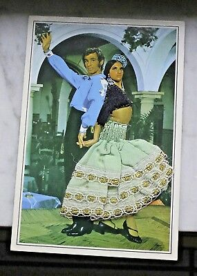 """Vtg? Embroidered Clothing Photograph Postcard 4""""x6"""" Man & Woman Dancers Spain"""