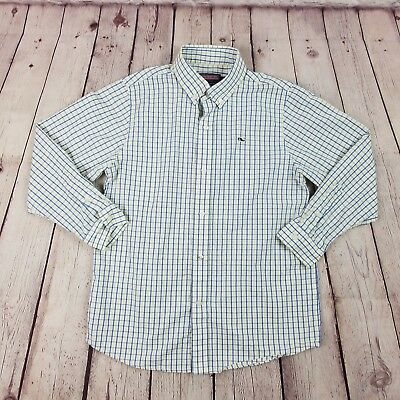 cd910551 Vineyard Vines Boys Classic Gingham Whale Shirt Button Down Size 7  Blue/Yellow